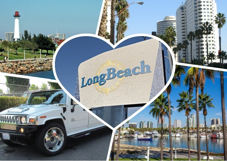 image is showing a collage about long beach views and white hummer limo