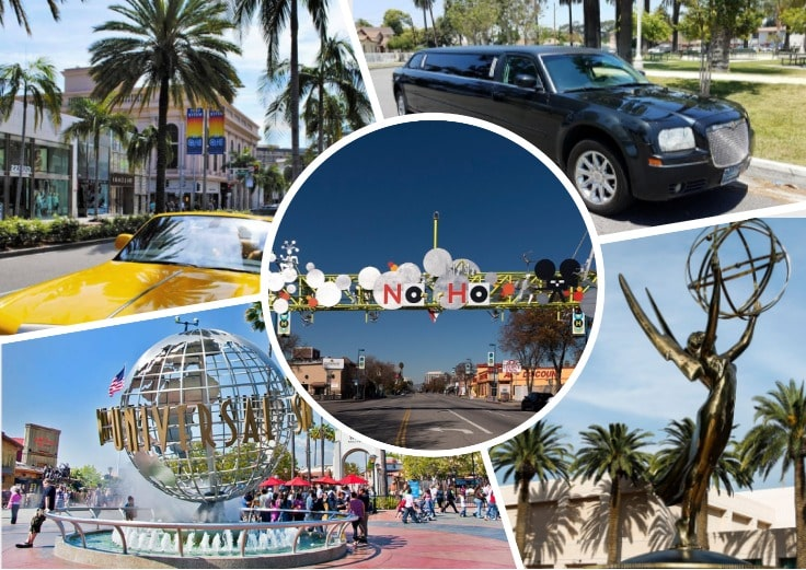 image is showing a collage about north hollywood sign, the emmy statue, universal studois fountain and black limo