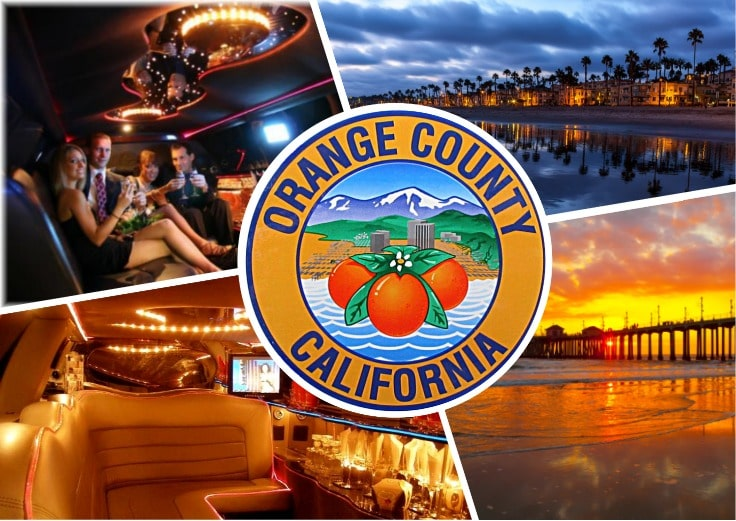 image is showing a collage about orange county sign and the interior of luxury limo