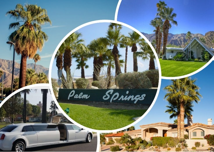 image is showing collage about palm springs views and white limo