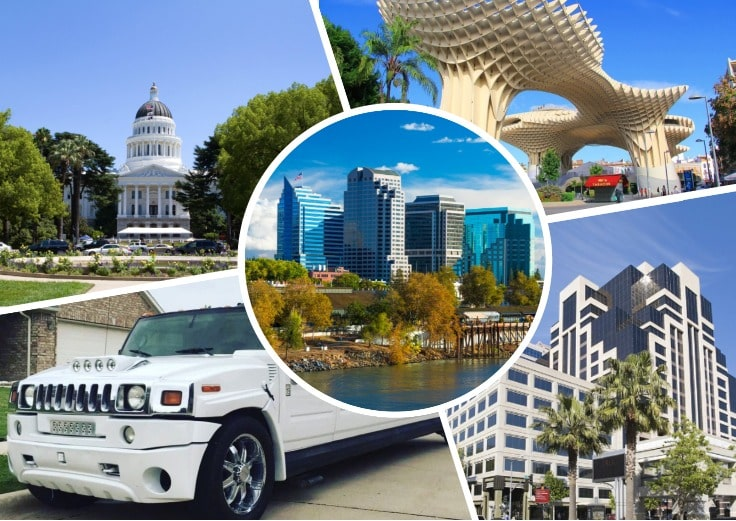 image is showing collage about sacramento views and white hummer limo