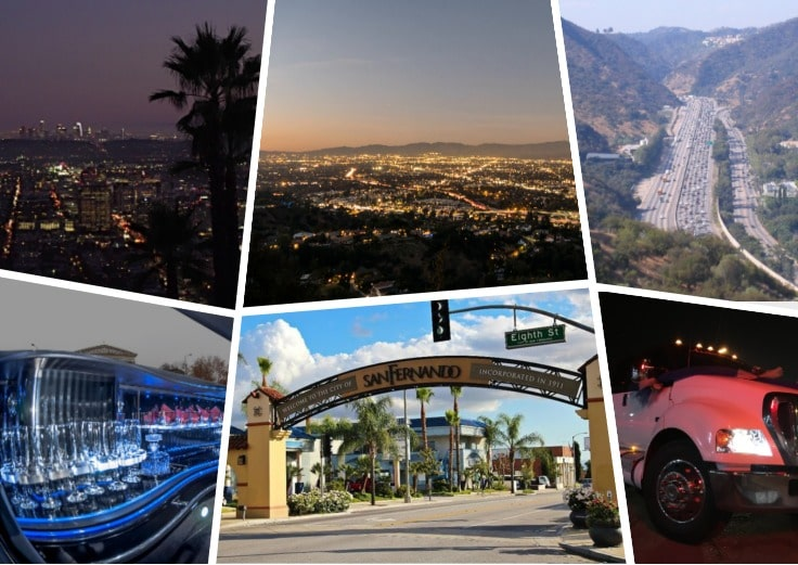 image is showing a collage about san fernando sign, san fernando valley views and white limo