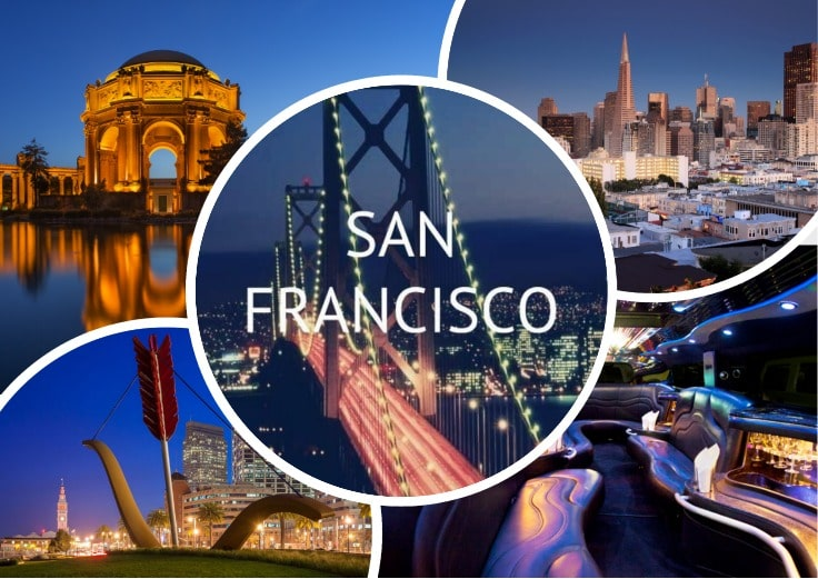 image is showing collage about san francisco night views and the interior of luxury limo