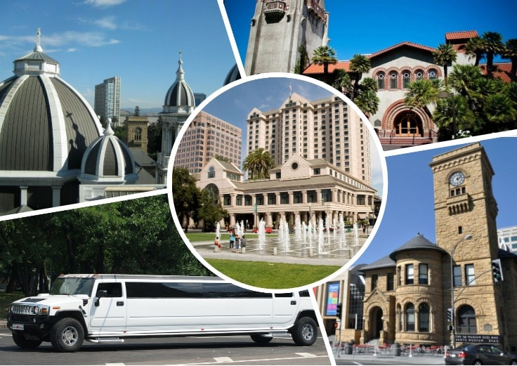 image is showing collage about san jose streets views and white limo