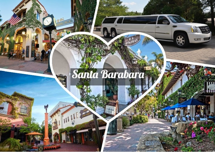 image is showing a collage about santa barbara views and white limo