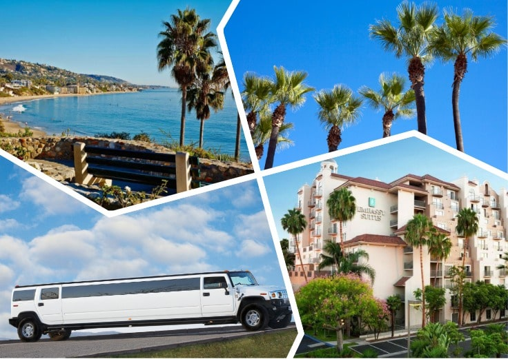 image is showing a collage about orange county views and white hummer limousine