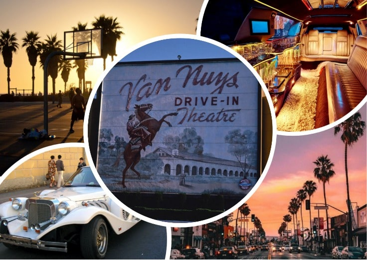 image is showing a collage about Van Nuys Drive-In Theatre sign, the road with palms at sunset and white limo