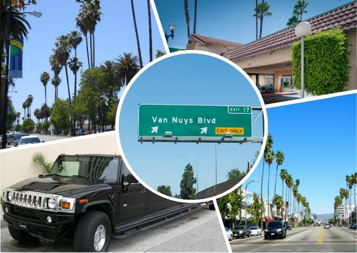 image is showing a collage about Van Nuys sign, the road with palms and black hummer limo