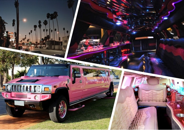image is showing a collage about Van Nuys sign, the road with palms at night time and pink hummer limo
