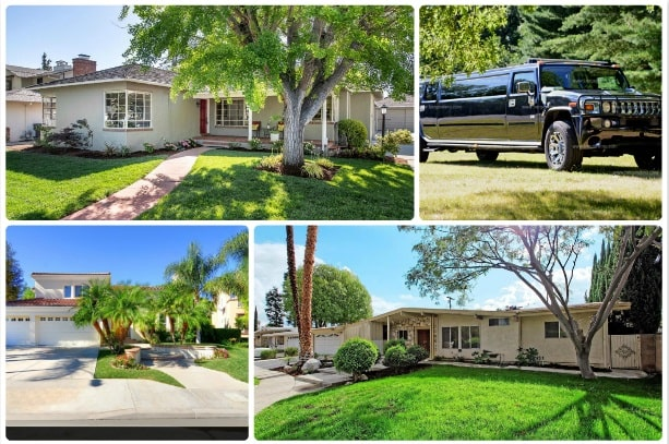 image is showing a collage about woodland hills views and black hummer limo