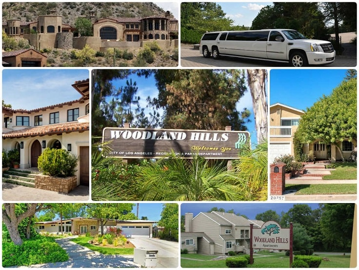 image is showing a collage about woodland hills views and white limo