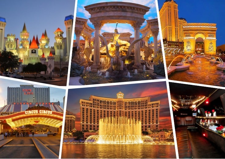 image is showing collage about Las Vegas views, circus hotel and the interior of luxury limo