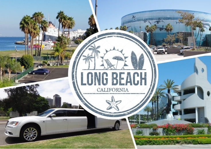 image is showing a collage about long beach views, aquarium and white limo