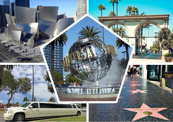 image is showing a collage about hollywood stars alley, Paramount Picture Gate, universal studois fountain and white limo