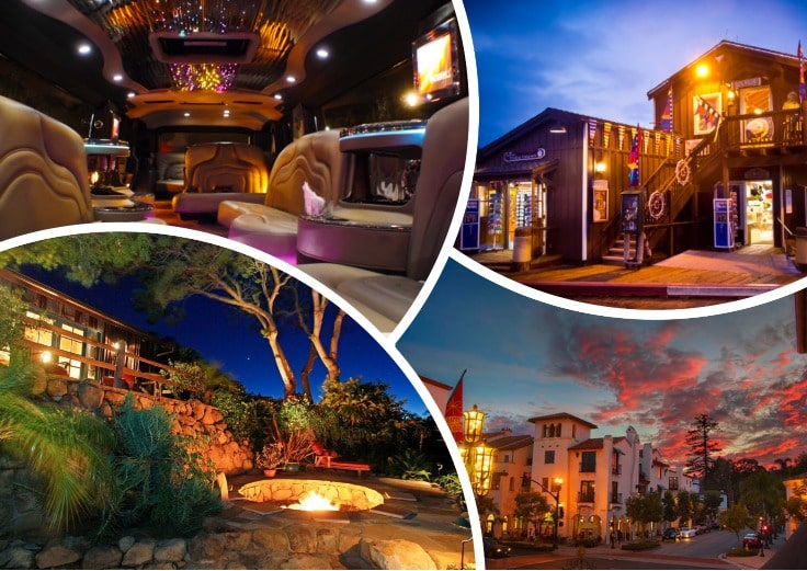image is showing a collage about santa barbara night views and the interior of luxury limo