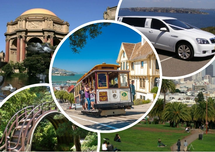 image is showing collage about san francisco views and white limo