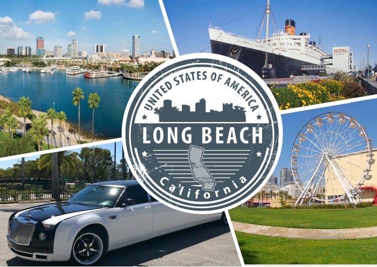 image is showing a collage about long beach views, Queen Mary Ship and limo
