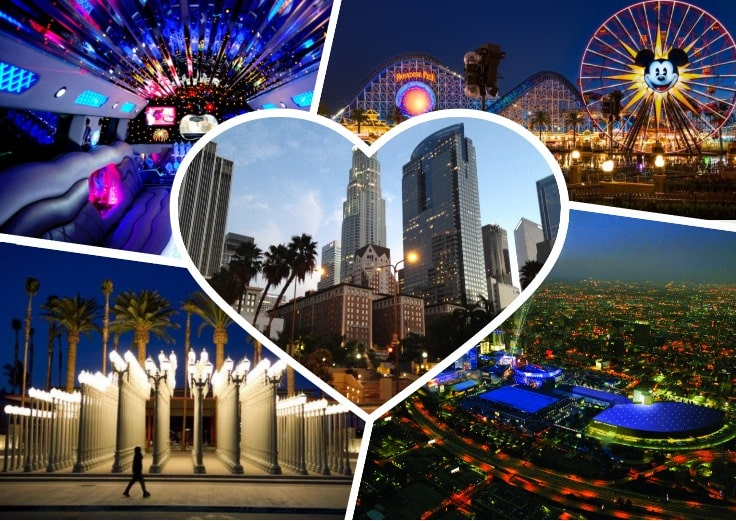 image is showing a collage about Disneyland, Los Angeles views and Los Angeles Downtown