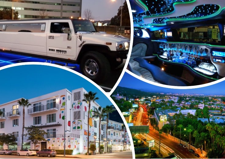 image is showing a collage about white hummer limo and North Hollywood view