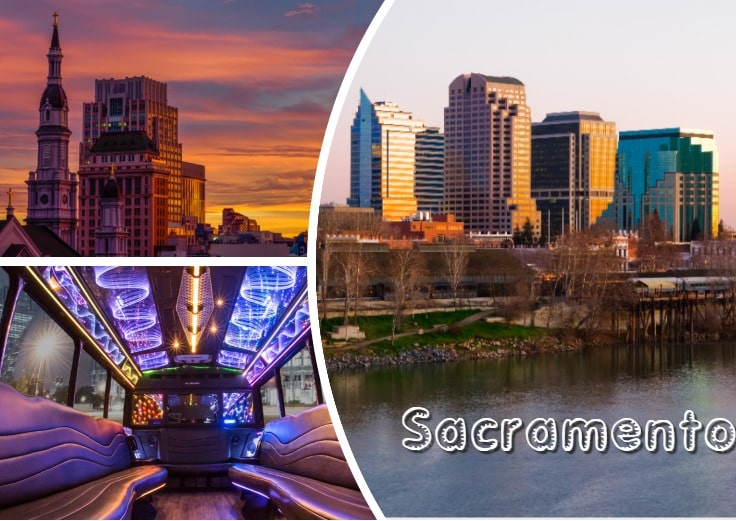 image is showing collage about sacramento views and the interior of luxury limo