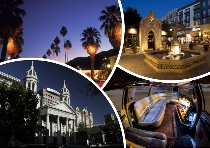 image is showing collage about san jose night views and the interior of luxury limo