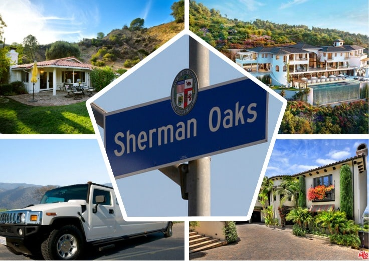 image is showing a collage about sherman oaks sign, sherman oaks views and white hummer limo