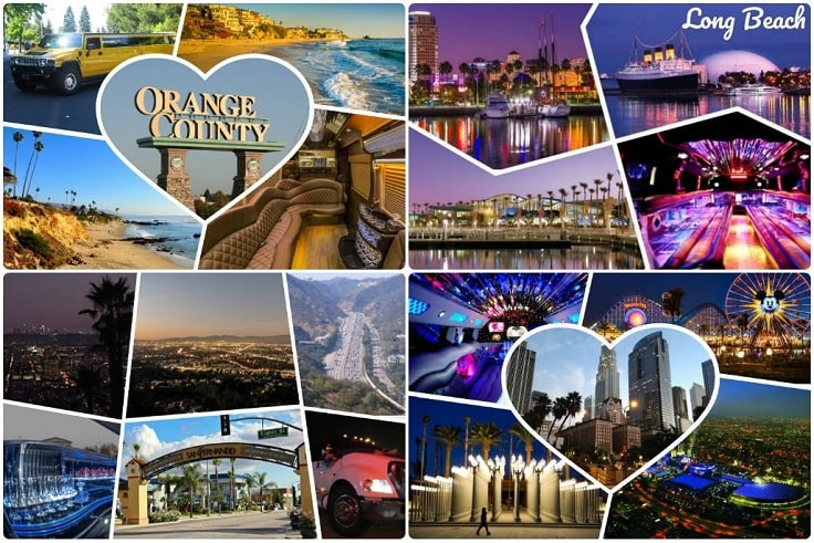 image is showing collage about limo services collages in Orange County and Long Beach
