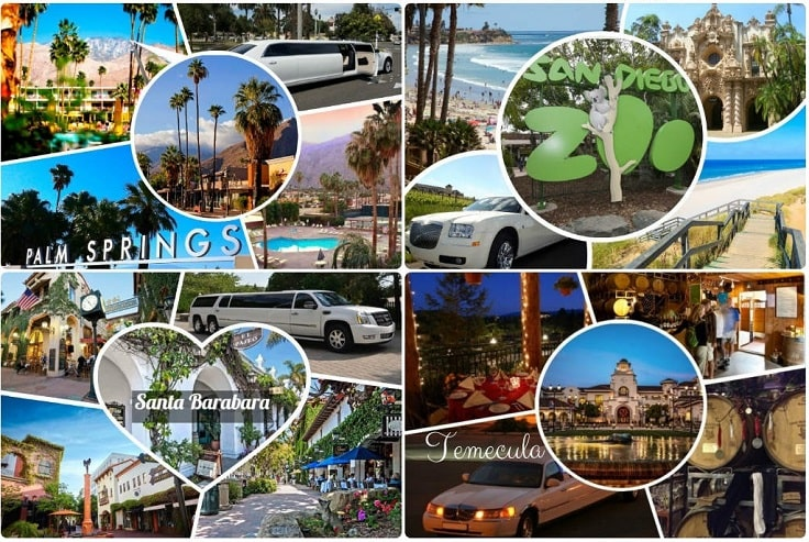 image is showing collage about limo services collages in San Diego