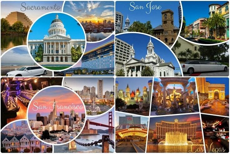 image is showing collage about limo services collages in Las Vegas and San Jose