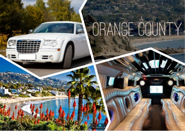 image is showing a collage about orange county sign, white limousine and the interior of luxury orange county limo