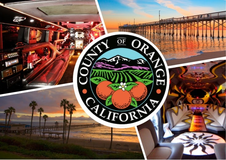 image is showing a collage about orange county sign, limousine service and the interior of luxury limo