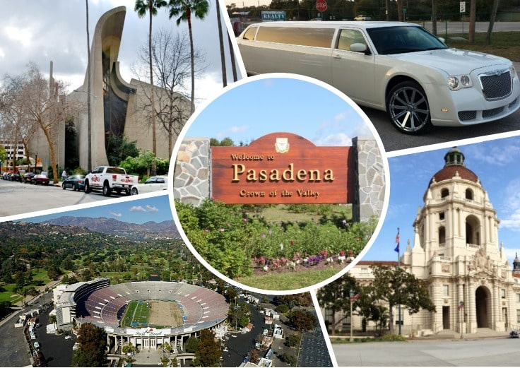 image is showing a collage about Pasadena sign, a stadium, a church and white limo