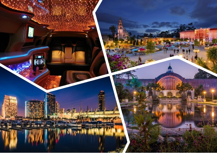 image is showing a collage about san diego night view, balboa park and the interior of luxury limo at night time