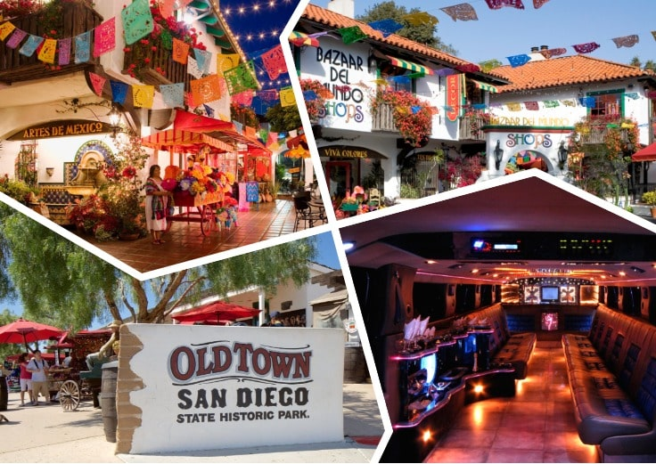 image is showing a collage about san diego old town views and the interior of luxury limo
