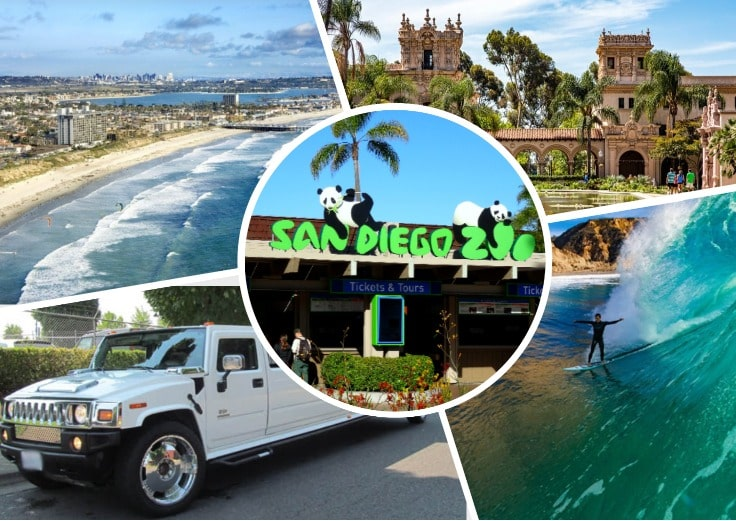 image is showing a collage about san diego beach views, san diego zoo, balboa park and white hummer limo