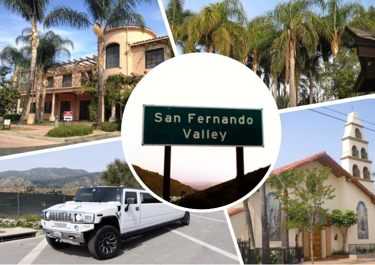 image is showing a collage about San Fernando sign, the road with palms and white hummer limo