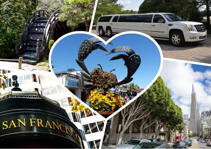 image is showing collage about san francisco streets views and white limo