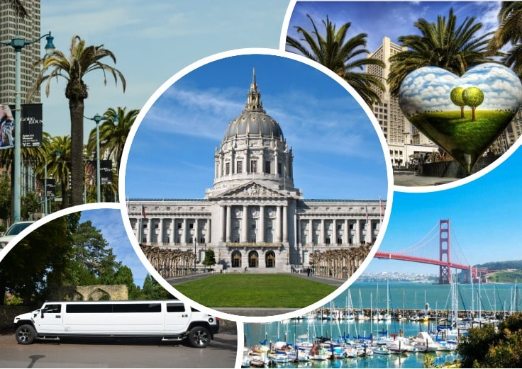 image is showing collage about san francisco views, golden gate and white limo