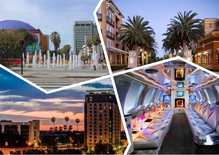 image is showing collage about san jose sunset views and the interior of luxury limo