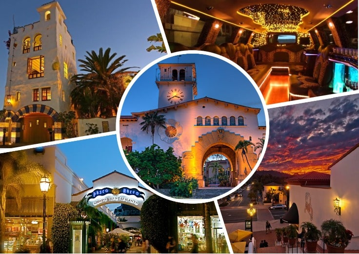 image is showing a collage about santa barbara sunset views and the interior of luxury limo