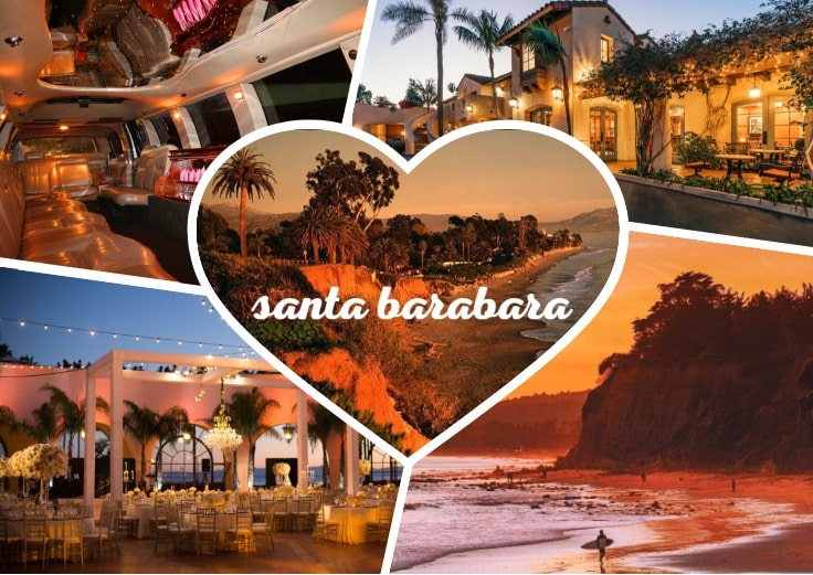 image is showing a collage about santa barbara views and the interior of luxury limo