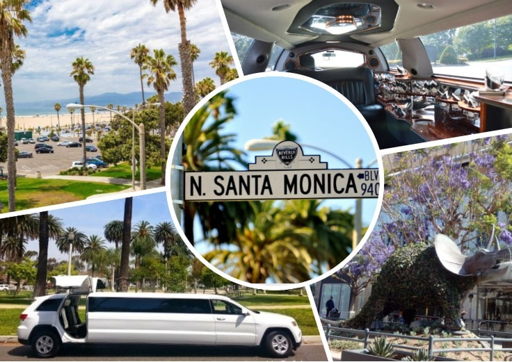 image is showing a collage about Santa Monica views and white limo
