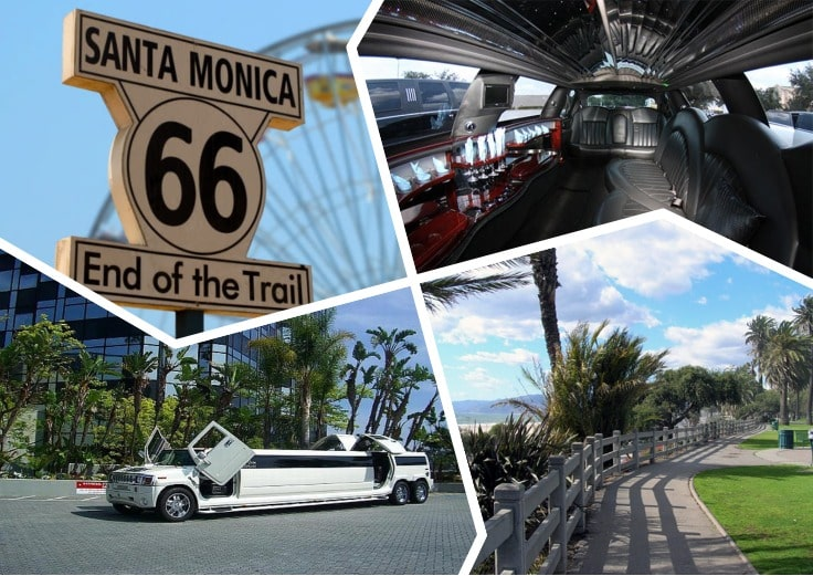 image is showing a collage about Santa Monica sign and white limo