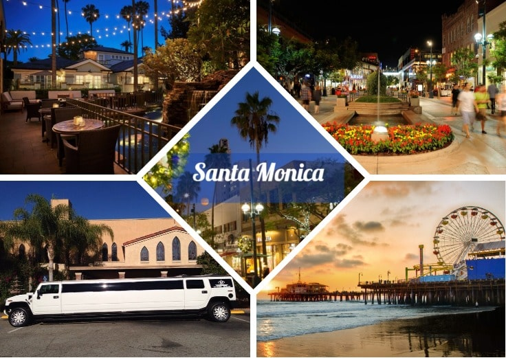 image is showing a collage about Santa Monica views and white limo at night time