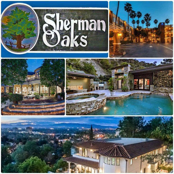image is showing a collage about sherman oaks sign and sherman oaks views