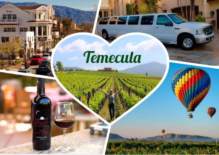 image is showing collage about temecula views and white limo