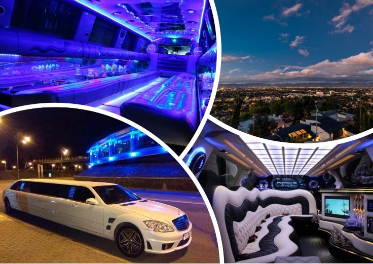 image is showing a collage about sherman oaks view, white limo and interiors of luxury limo