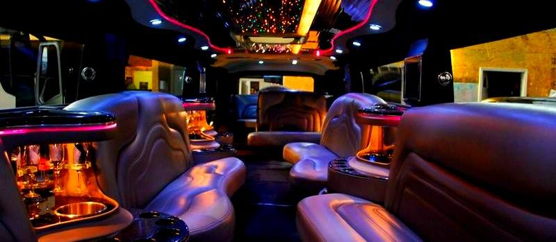 image is showing the interior of luxury limo in Westwood