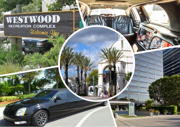 image is showing a collage about Westwood views and black limo