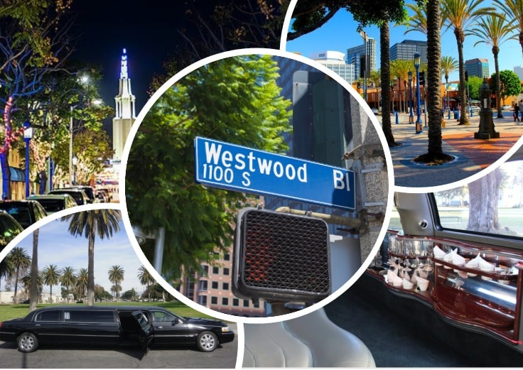 image is showing a collage about Westwood sign and black limo